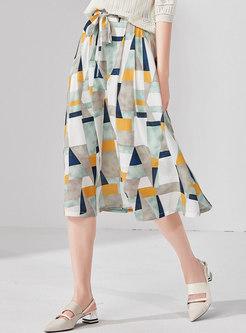 Geometric Print High Waist Bowknot A Line Skirt