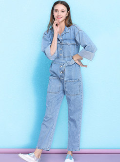 Casual Denim Single-breasted Belted Jumpsuit