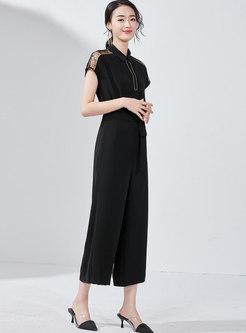 Lace Splicing Lapel Belted Wide Leg Jumpsuit