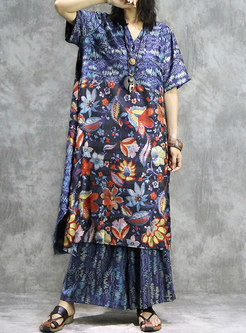 Vintage Print V-neck Asymmetric Loose Dress & Wide Leg Pants