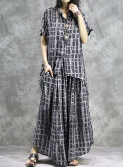 Vintage Plaid Asymmetric Loose Top & Wide Leg Pants