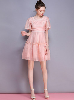 Square Neck Hollow Out Pink Gathered Waist Skater Dress