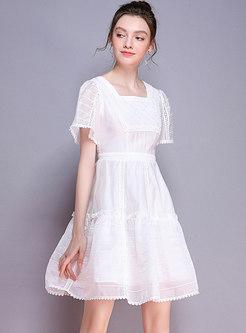 Square Neck Gathered Waist White Skater Dress