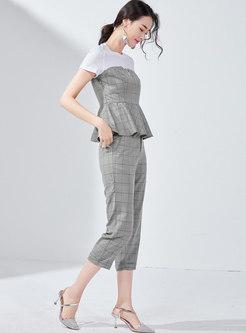 Plaid Splicing O-neck Slim Top & Pencil Pants