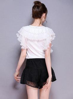 Fashion Elastic Waist Easy-matching Short Pants