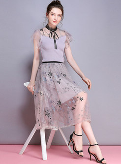 Mesh Splicing Knitted Top & Perspective Mesh Skirt