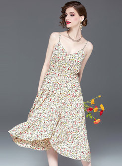 Chic Floral V-neck Tie-waist Asymmetric Slip Dress