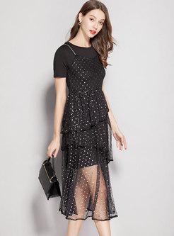 Casual O-neck T-shirt Dress & Polka Dot Slip Dress