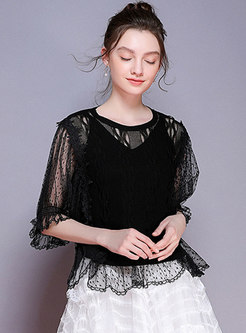 Mesh O-neck Lantern Sleeve Black Knitted Top