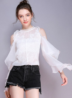 Solid Color Off Shoulder Perspective Irregular Blouse