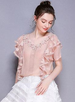 V-neck Diamond-studded See-through Pink T-shirt