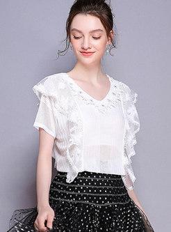 V-neck Diamond-studded See-through White T-shirt
