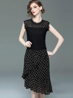 Fashion Lace Sleeveless Top & Plaid Falbala Skirt