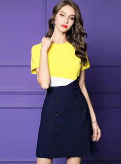 Color-blocked O-neck High Waist A Line Dress