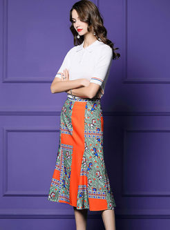 Casual Lapel White Slim T-shirt & Print Skirt