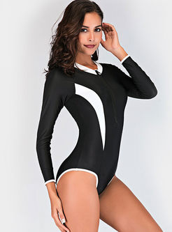 Color-blocked O-neck Long Sleeve Slim Swimwear