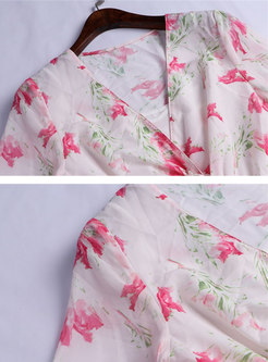 Print V-neck Slit Falbala Skater Dress With Cami
