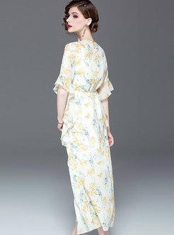 Print V-neck Slit Flare Sleeve Skater Dress With Cami