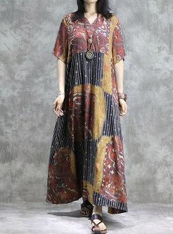 Color-blocked V-neck Print Loose Maxi Dress