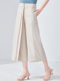 Chic High Waist Asymmetric Wide Leg Pants