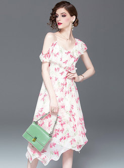 Sexy Print V-neck Off Shoulder Asymmetric Dress
