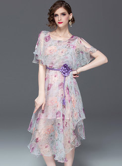 Print Off Shoulder Tie-waist Asymmetric Slim Dress