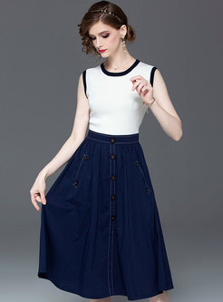 Color-blocked O-neck Sleeveless High Waist Skater Dress