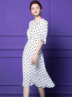 Polka Dot Bowknot Gathered Waist Skater Dress