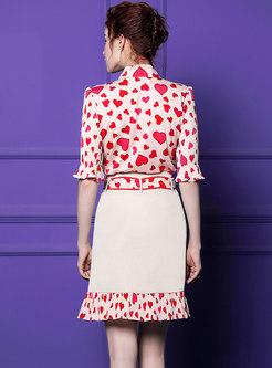 Elegant Print Tied Blouse & Splicing Sheath Skirt