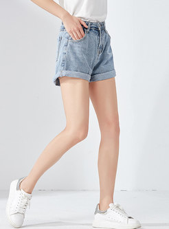 Brief Rolled Loose Rolled Short Jeans