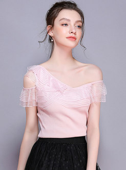 Slash Neck Mesh Falbala Slim Knitted T-shirt