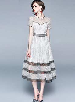 Sweet O-neck Short Sleeve Lace Big Hem Dress