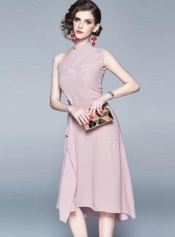 Chic Irregular Neck Off Shoulder Party Dress