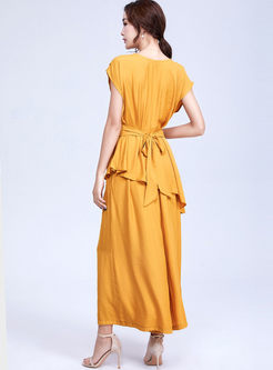 Brief Solid Color Sleeveless Top & Wide Leg Pants