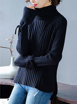 Flare Sleeve Asymmetric Knitted Sweater