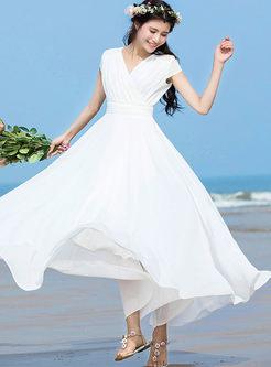 Brief Solid Color Waist Chiffon Beach Dress