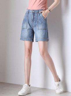 Casual Denim Button Cotton Straight Shorts
