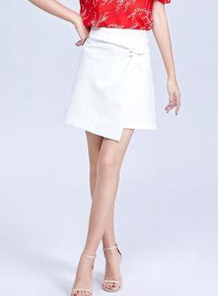 White High Waist Irregular A Line Skirt