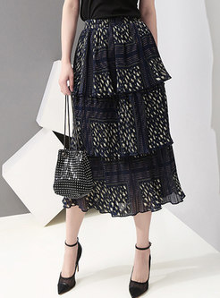 Print Elastic Waist Cake Skirt