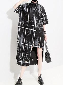 Chic Plaid Lapel Hollow Out Asymmetric Dress