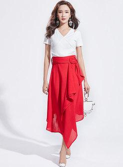 V-neck Hollow Out Slim Top & High Waist Asymmetric Skirt