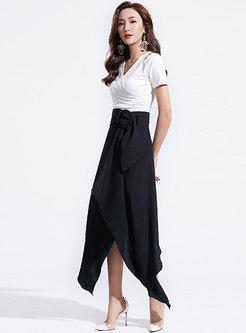 Chic V-neck Slim Top & High Waist Asymmetric Skirt