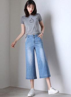 Brief Summer Denim Cotton Wide Leg Pants