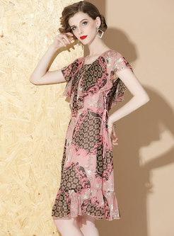 Stylish Square Neck Print Slim Falbala Dress