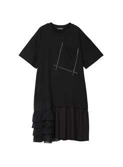 Casual Splicing O-neck Falbala T-shirt Dress