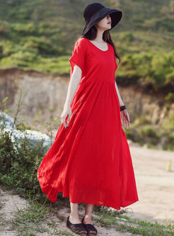 Chic O-neck Gathered Waist Hem Maxi Dress