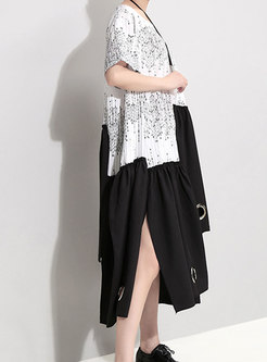 Color-blocked Splicing O-neck Asymmetric Loose Dress
