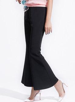 Elegant Black High Waist Slim Flare Pants