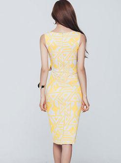 Stylish Sleeveless Print Bowknot Slim Dress