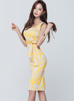 Stylish Sleeveless Print Bowknot Waist Slim Dress